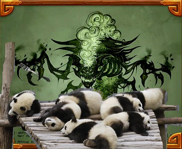 A Sha holds a folk while examining a pile of sleeping panda cubs.