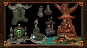 A collection of small shrines from the Blizzcon Art Panel